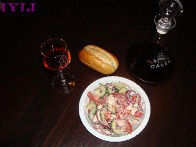03-salad, bread and wine